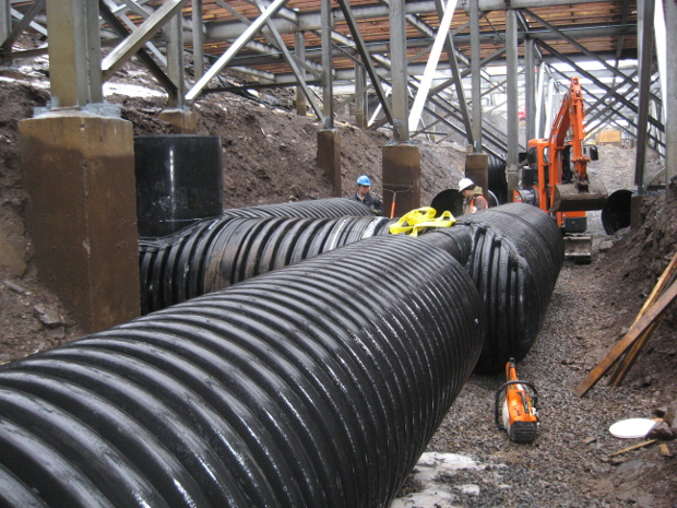 1200 corrugated pipe under walkway