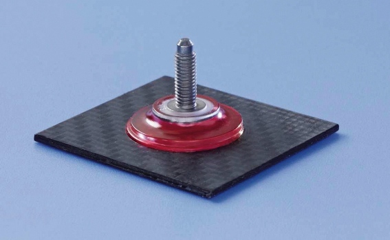 Threaded bolt with plastic base and adhesive