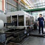 Corrugator for the production of corrugated PE pipes for electrical conduits and drainage