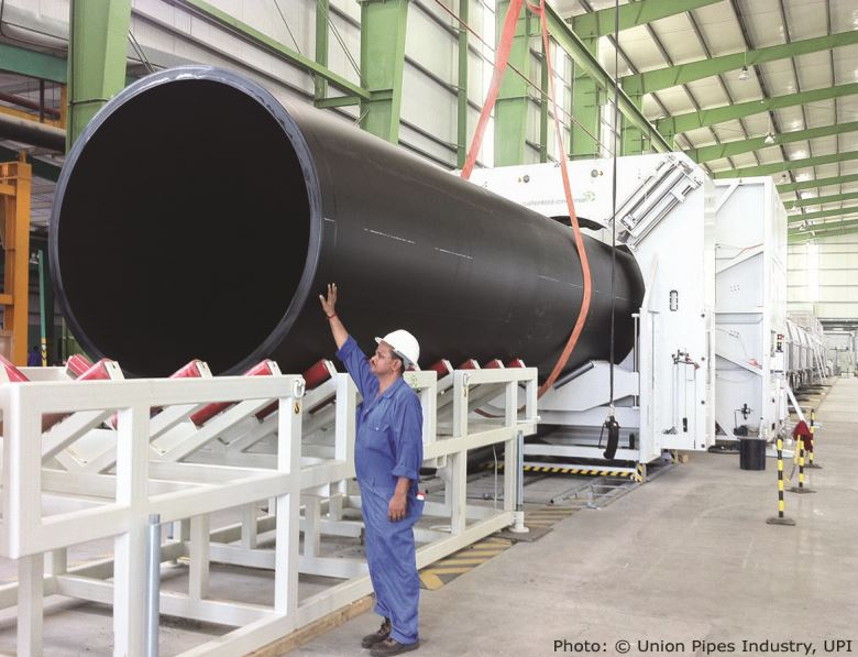 Large diameter pipe extrusion line able to produce