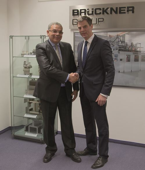 Picture: Mr. Abdelhak Ouzzir, President of BFP (left) and Mr. Peter Mertes, Senior Sales Manager of Brückner Maschinenbau (source: Brückner Maschinenbau)