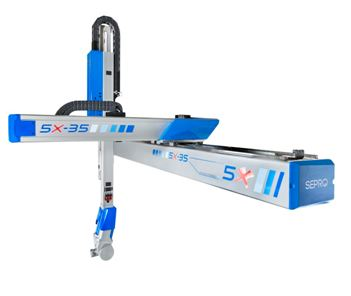 5X Line of robots brings together a Sepro 3-axis Cartesian beam robot and a 2-axis Stäubli wrist
