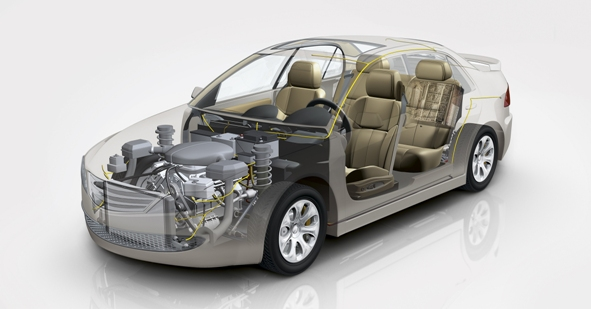 Using composites the weight of various automotive parts, e.g. roof, doors, or access panels, can be reduced from 25 until 50% (Source: Evonik)