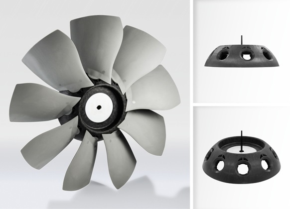 Metal replaced by long glass fiber-reinforced polyamide in axial fans (source: BASF)
