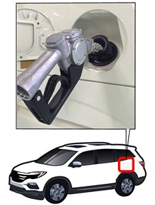 Location of capless fuel filler on vehicle