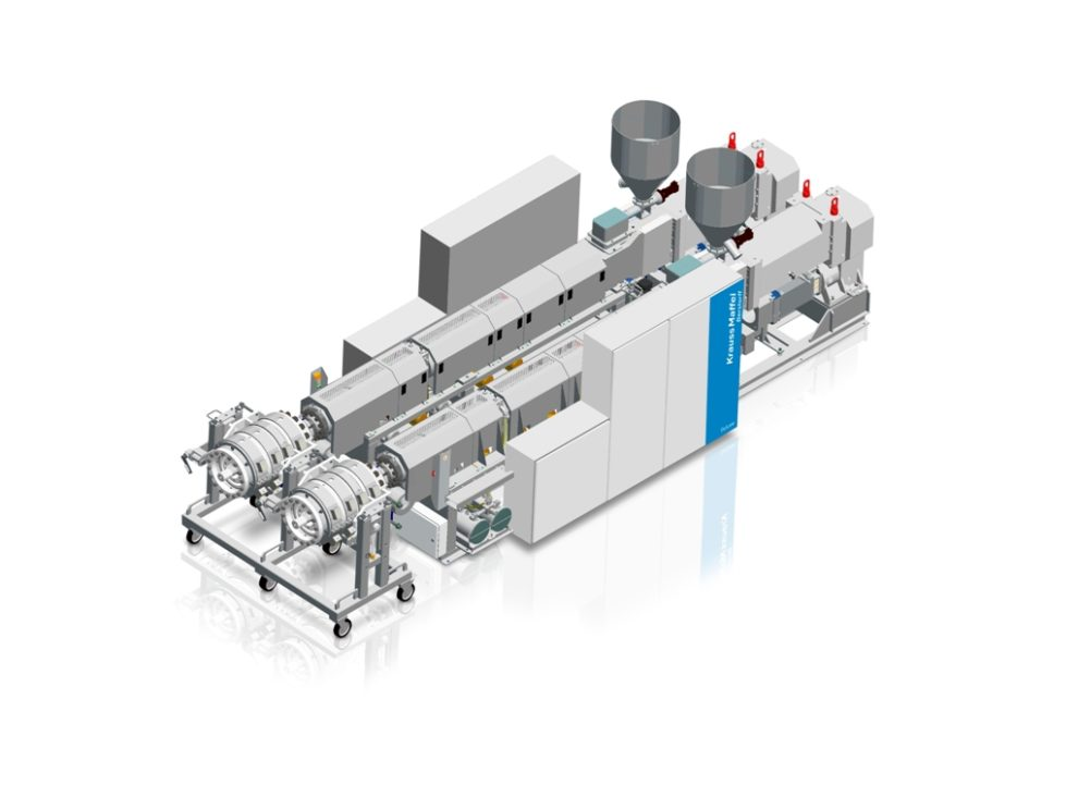 Combination of two twin-screw extruders for PVC-U pipe production
